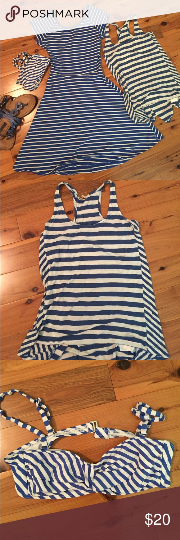 Blue and white stripes bundle A dress, a tank top and a bandeau bikini top all in an adorable blue and white striped print! Dress is a size small white an adorable cut out in the back. Tank top is old navy size XS. The bikini top is size medium and has removal straps. Must note that the bikini does not have the pads however has a spot for them. Old Navy Other