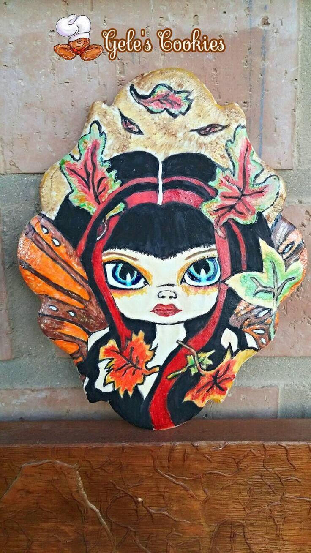 Galleta pintada sobre glasa, hada de otoño Autum fairy