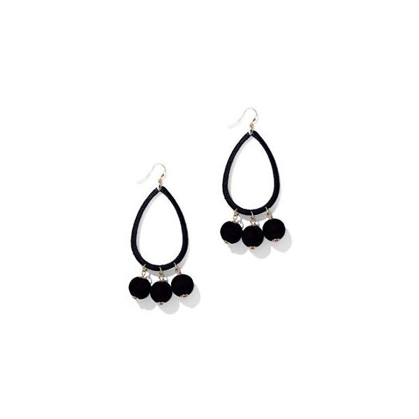 Pom-Pom Open Teadrop Earring ($6) ❤ liked on Polyvore featuring jewelry, earrings, black, pom pom earrings, teardrop jewelry, fish hook earrings, fish hook jewelry and new york company jewelry