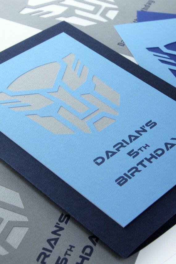 Invitaciones de cumpleaños personalizadas transformador-juego