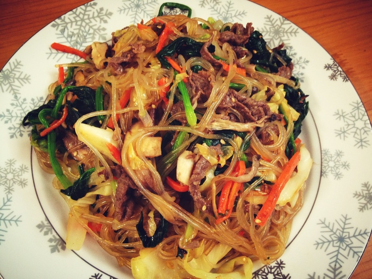 Japchae, mixed dish of boiled bean threads, stir-fried vegetables, and shredded meat by HoniBee. #koreanfood