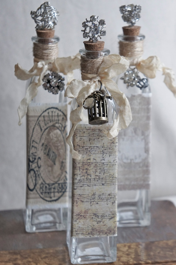 Decorative bottle with vintage french accents repurposed for Decorative vials