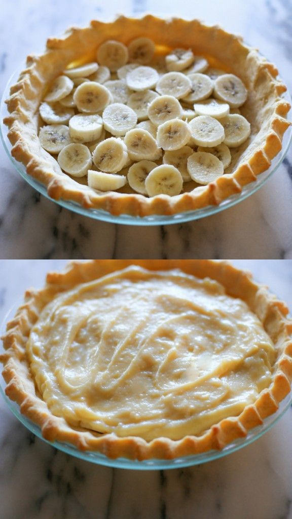 Banana Cream Pie - I amped up the vanilla and sugar in the whipped cream and added a layer of peanut butter frosting between the sliced bananas and pudding. Be extremely careful when tempering the eggs. Really good with ripe bananas. I added sugar to my normal pie crust