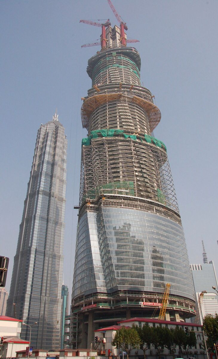 Shanghai Tower obviously under construction.
