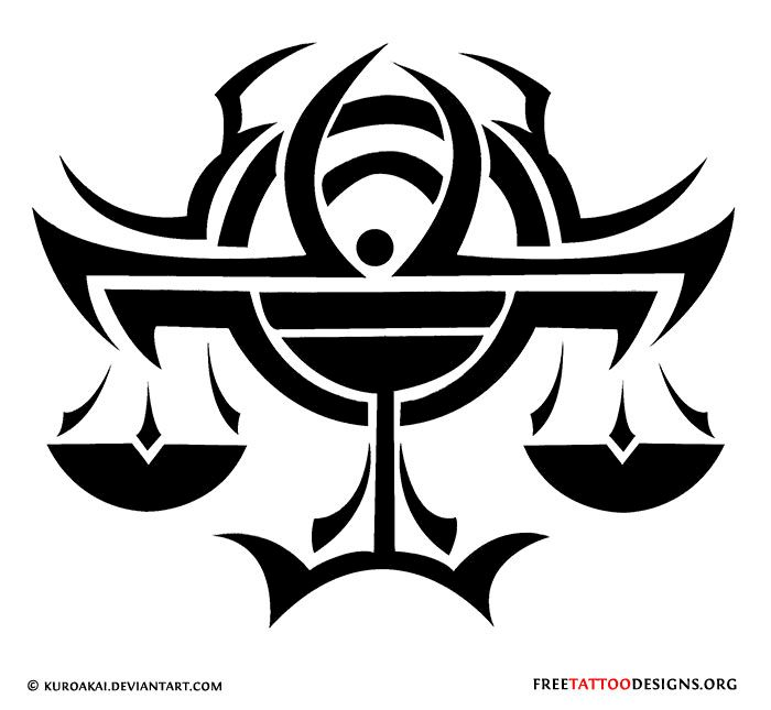 Tribal libra tattoo design