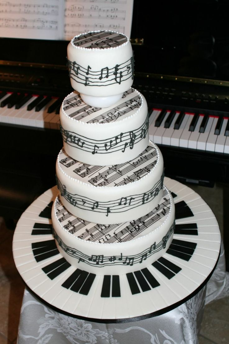 "Piano+Sheet+Music+Tiered+Cake+-+This+was+a+last+minute+throw-together+for+the+2007+San+Diego+Cakes+on+Parade+Show+and+Competition.++Cake+covered+in+fondant,+""sheet+music""+is+rice+paper+written+with+edible+ink+pen,+paino+keys+are+also+fondant.++Music+staffs+on+sides+of+cake+are+royal+icing."
