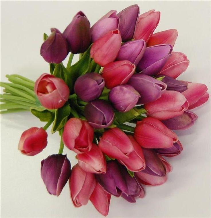 Latex tulips pink purple wedding bouquet posy flowers