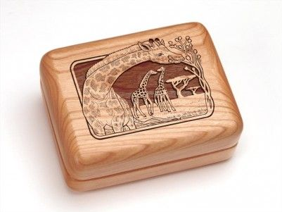 Giraffes Engraved Hinged Box #giraffes #woodenbox