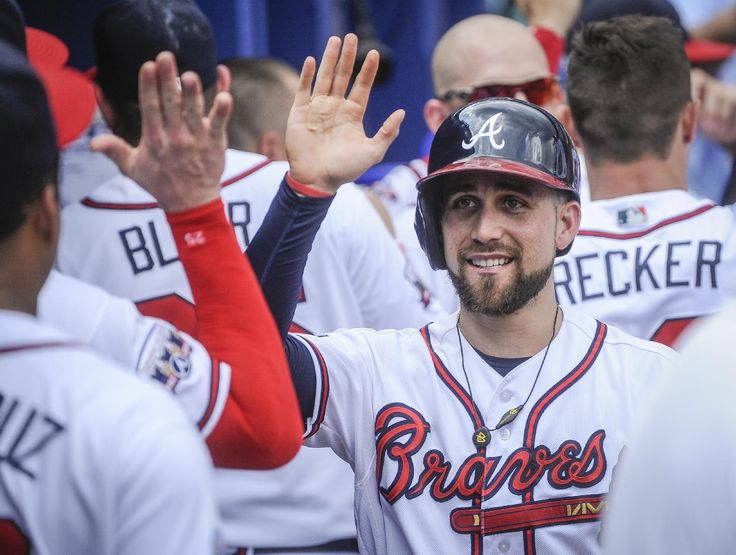 Atlanta Braves ' Ender Inciarte is congratulated in the dugout after scoring on a Matt Kemp two-run single to left field during the fifth inning of a baseball game against the San Diego Padres, Thursday, Sept. 1, 2016, in Atlanta. (AP Photo/John Amis)