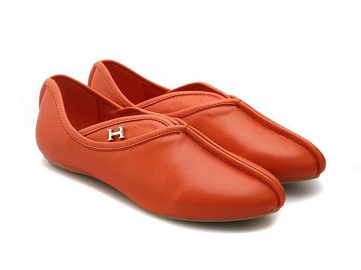hermes orange flat shoes walk in closet
