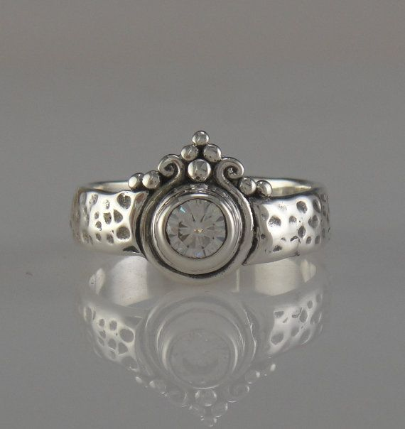 Sterling SIlver Moissanite Ring by DenimAndDiaJewelry on Etsy, $420.00