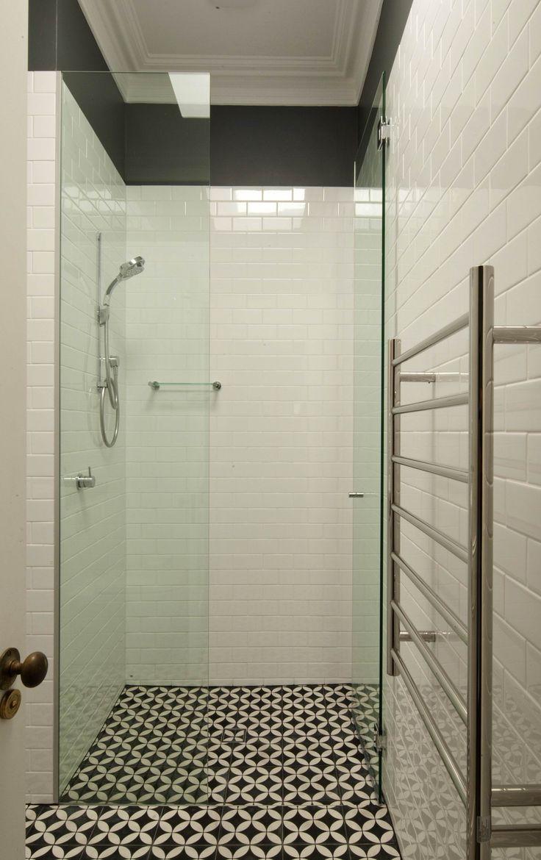 Kids black and white bathroom with Jatana Tiles. Brooke Aitken Design