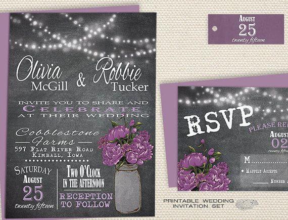 Purple Rustic Wedding Invitations: Best 25+ Mason Jar Invitations Ideas On Pinterest