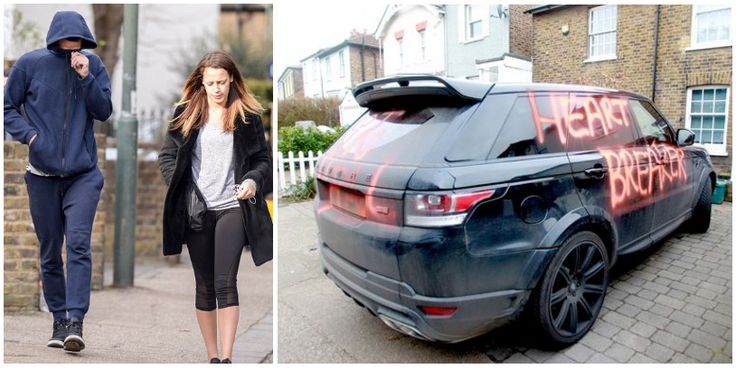 Footballer Steven Caulker's £100,000 SUV was been daubed with graffiti hours after he was accused of two-timing his girlfriend