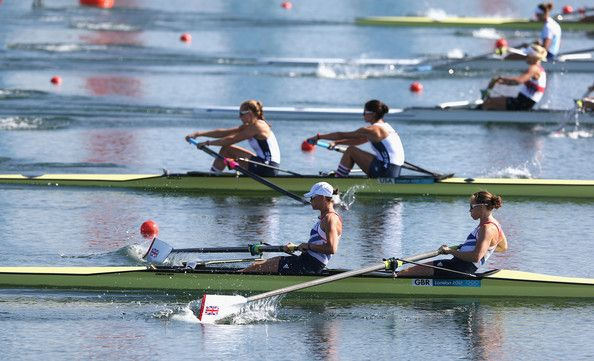 Helen Glover and Heather Stanning of Great Britain compete in the Women's Pair Heats on Day 1 of the London 2012 Olympic Games at Eton Dorney on July 28, 2012 in Windsor, England.