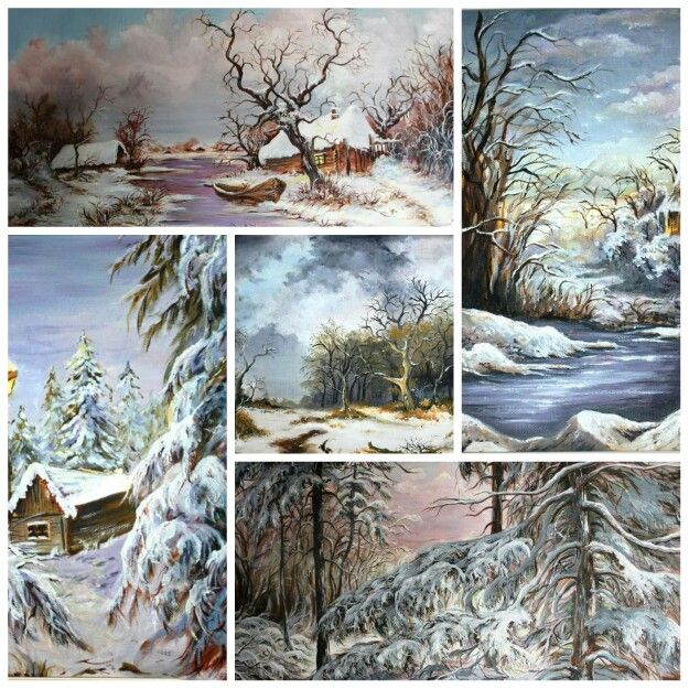 Oil paintings winter landscapes