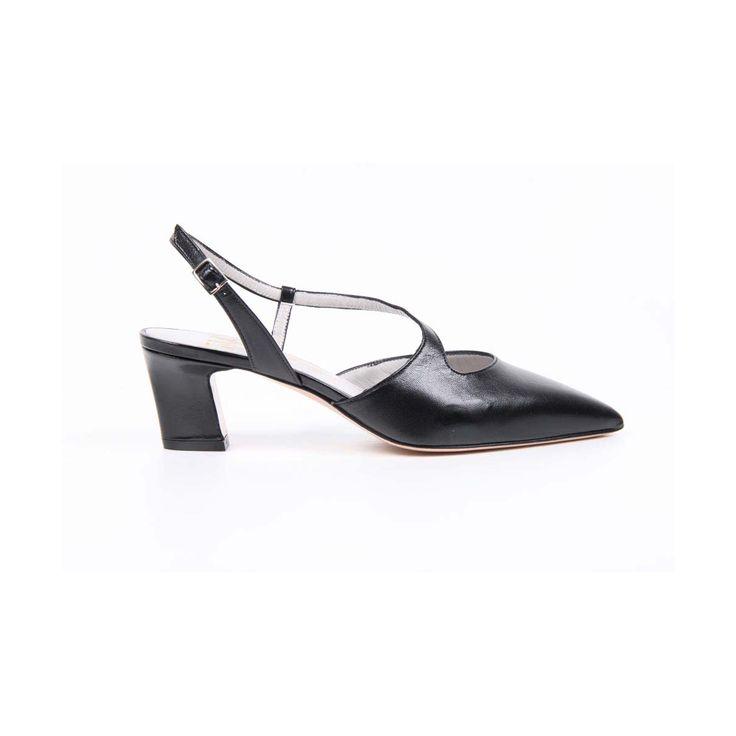 Versace 19.69 Abbigliamento Sportivo Srl Milano Italia Womens Slingback Sandal 5535-LID55 PE ELIOS15NE CAPRETTO ELIOS NERO