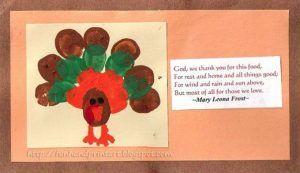 Thumbprint Turkey Prayer Cards - Fun Handprint Art