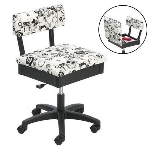 Horn Gas Lift Storage Sewing Chair in Black & White | Buy New Arrivals