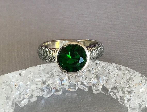 Green Topaz Ring Sterling Silver Engagement Ring by SimplySilvery
