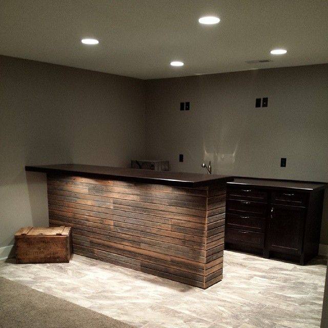 Bar Custom Wood And Woods: Custom Wood Bar W/ Barn Board & Barn Board Tile