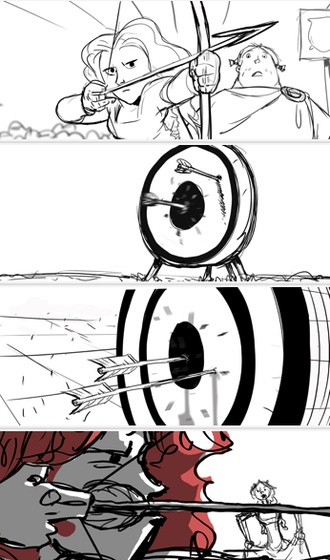 Brave storyboard. Nice use of jump cuts, emphasis and extreme close-up to heighten drama.