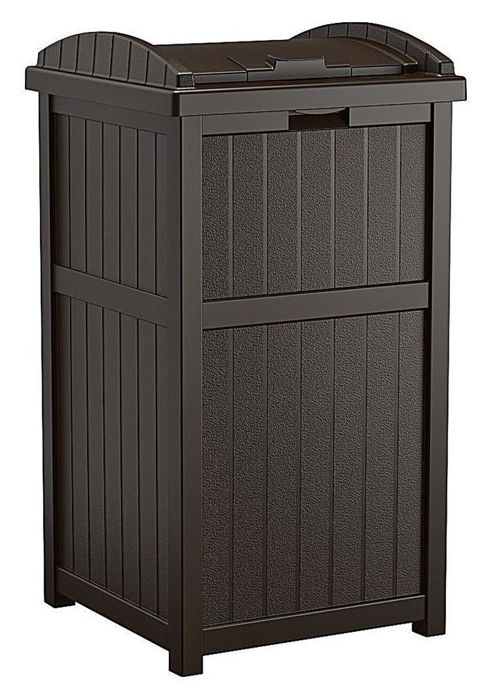 Outdoor Garden Trash Can Hideaway Decorative Patio Storage Container Unit Black Dealstoday With Images