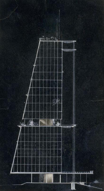 Leonidov, Ivan I. Competition project for the House of Industry- glass-tower elevation _ Projet pour le concours de la maison de l'Industrie - élévation de la tour de verre, 1929-1930 DR1995-0002 copy