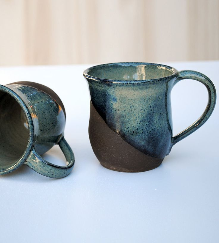 Brownstone Clay Mugs – Set of 2 by Kirkwood Clay on Scoutmob Shoppe. Handmade clay mugs for contemplative sipping, dip glazed on the outside to highlight the brilliant blue.