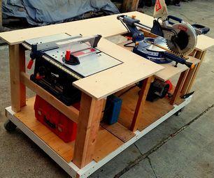 Bancada móvel com mesa integrada e serras de mitra