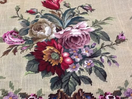 Lovely Vintage Antique Partly Finished Petit Point and Needlepoint Lg Canvas