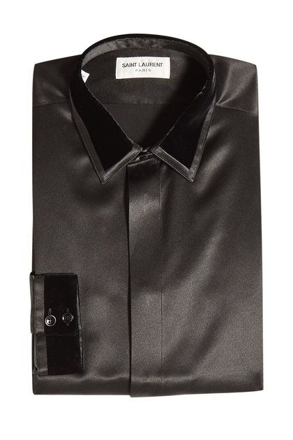 2903f9ec1dd6 Saint Laurent - Silk Shirt with Velvet Trims | silk | Shirts, Silk ...
