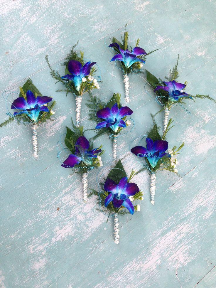 Electric Blue Groomsmen's Orchid Buttonholes