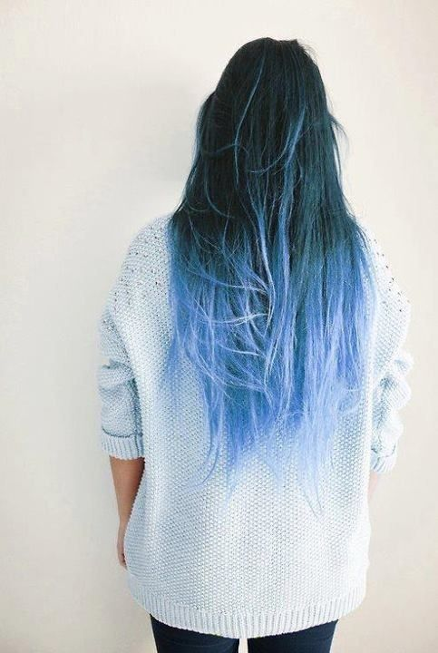 perfect blue ombre hair
