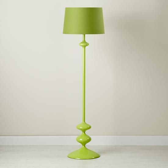 $149 - The Land of Nod | Kids' Floor Lamps: Green Floor Lamp Base with Fabric Shade in Floor Lamps