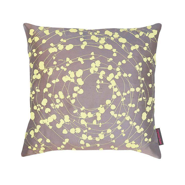 Spiral silk cushion – storm / lemon