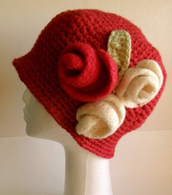 Red Crochet Cloche Hat with Red and White Felted Roses - looks great!