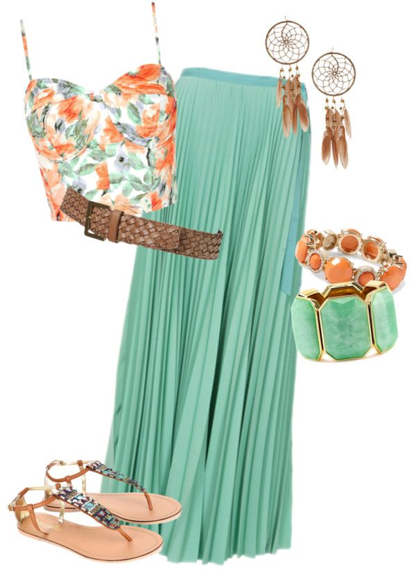Cute summer outfit!! i'd really like to be able to pull off long skirts and crop tops. actually. dont really care if i look silly. prob doing it anyway.