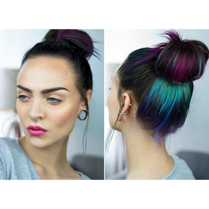 """MOA on Instagram: """" buisness in the front, party in the back  product list on my blog, link in bio (hair: la rich'e #directions in violet, cerise and turquoise)☔️ #babylips"""""""