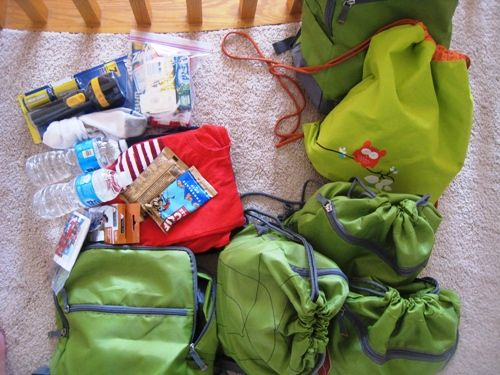 Make Go Bags for your kids so that you are prepared for an evacuation in the case of an emergency.