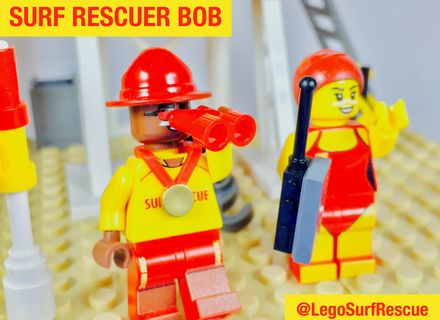 Bob & Keats in action on the beach. Vote for a #SunSmart #Lego set starring heroes wearing sunscreen at http://bit/ly/legosurfrescue. #Legoideas #Melanoma #SkinCancer #Cancer #Australia #SurfLifeSaving