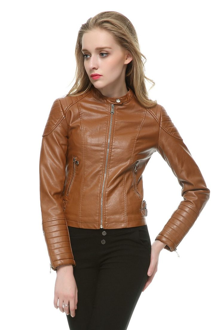 New Fashion Women Motorcycle Faux Soft Leather Jackets Female Winter Autumn Brown Black Coat Outwear Hot Sale | #Leather