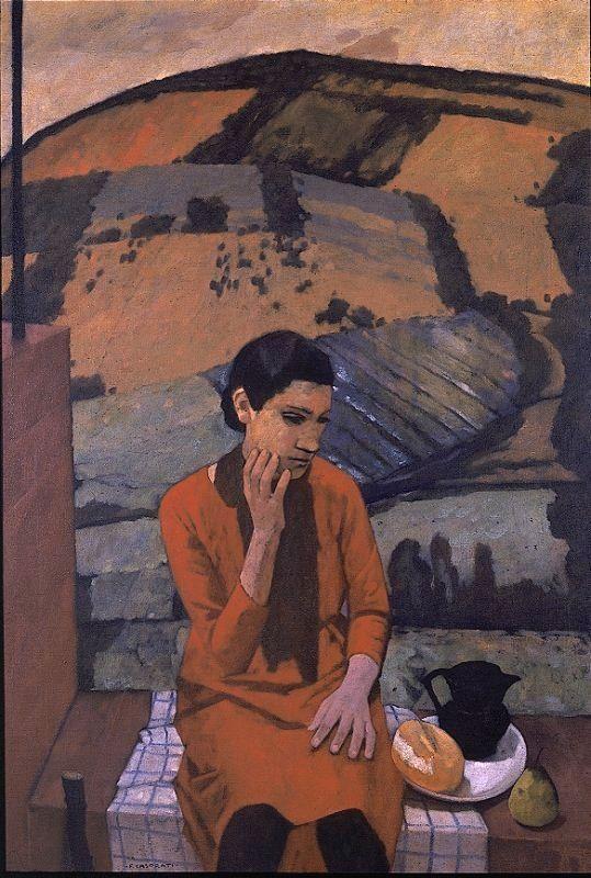 Felice Casorati, 1883-1963. Ragazza in collina (Ragazza di Pavarolo), 1929, Olio su tela, 90 x 130 cm | GAM-Galleria Civica d'Arte Moderna e Contemporanea di Torino