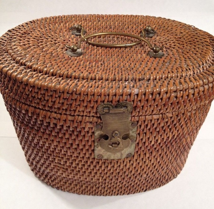 antique baskets | Antique Chinese Wicker and Brass Tea Basket-Mid to Late 1800;s from ...