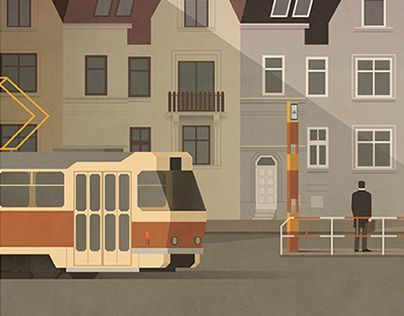 Illustration for Nový prostor magazine. Issue 454, main theme public transport.