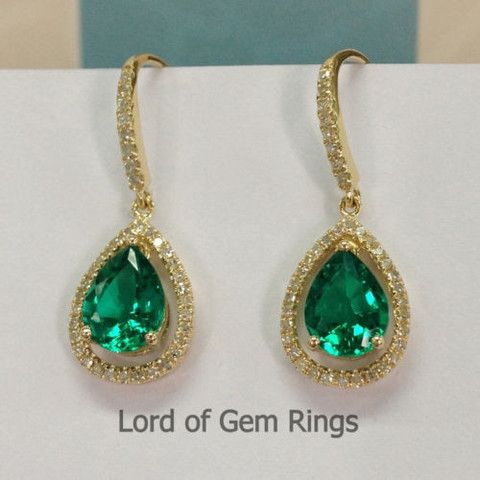 6x8mm Pear Cut Green Emerald Hook Dangle Earrings,14K Yellow gold with diamond