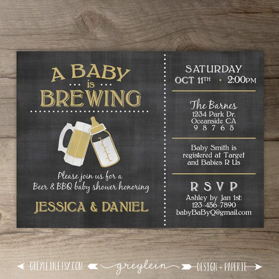 A Baby is Brewing Brewery Baby Shower Invitation • guy friendly • co-ed BBQ baby shower • DIY Printable chalkboard Invitation • baby bottle