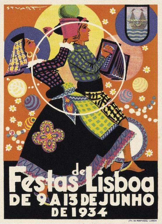 1934-Festas-de-Lisboa Cartaz de Stuart Carvalhais Festas de Lisboa, Lisbon, Portugal