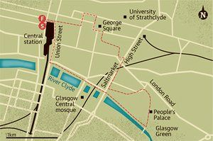 Walking map of Glasgow city centre