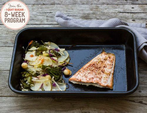 One Pan Salmon and Super Slaw: A great family dinner option. Salmon is a crowd pleaser in my family and the one pan thing + easy after a hard day at work.
